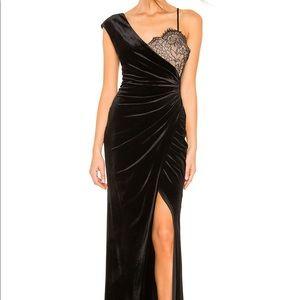 BCBG black velvet and lace maxi gown